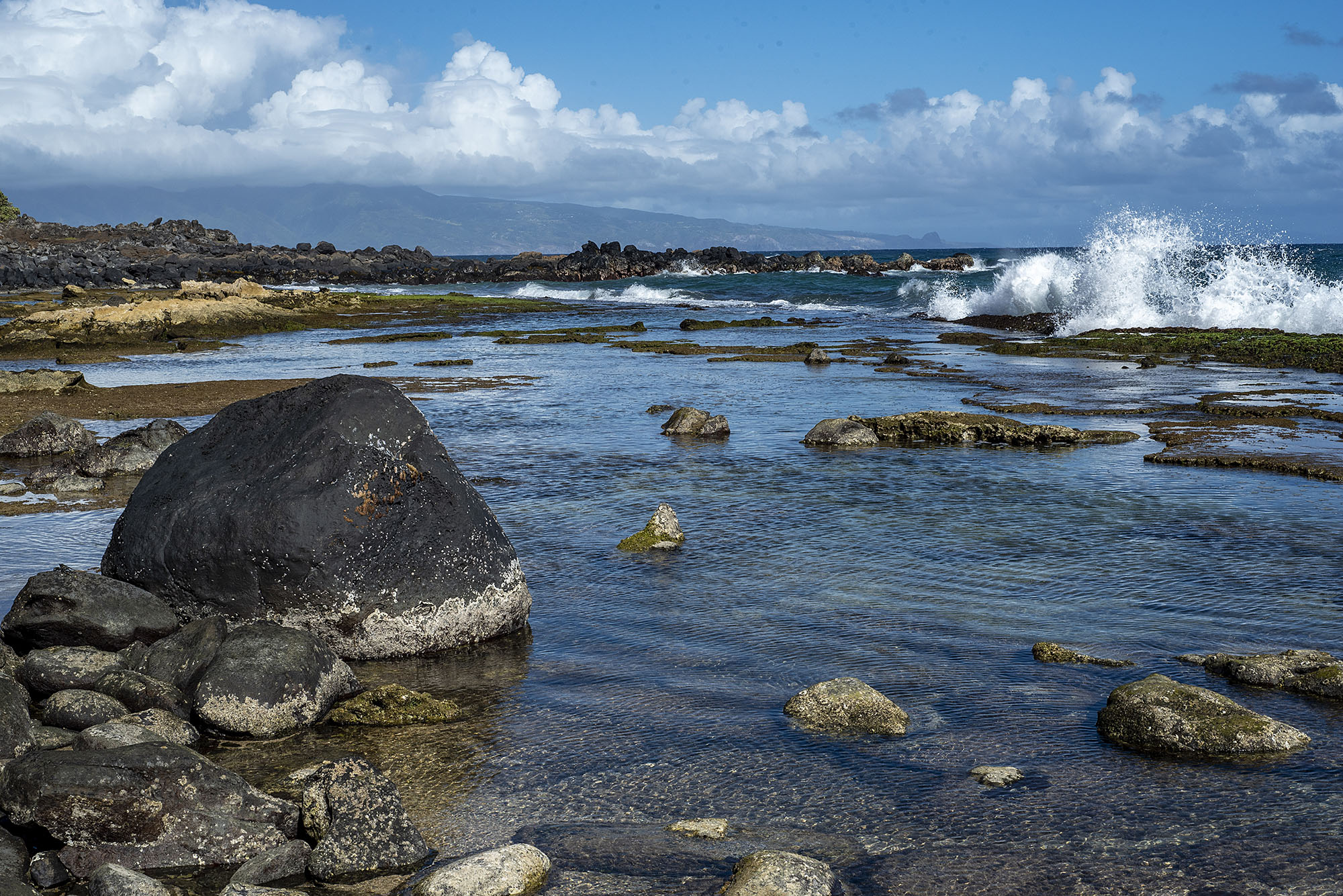 Maui beach with water and rocks