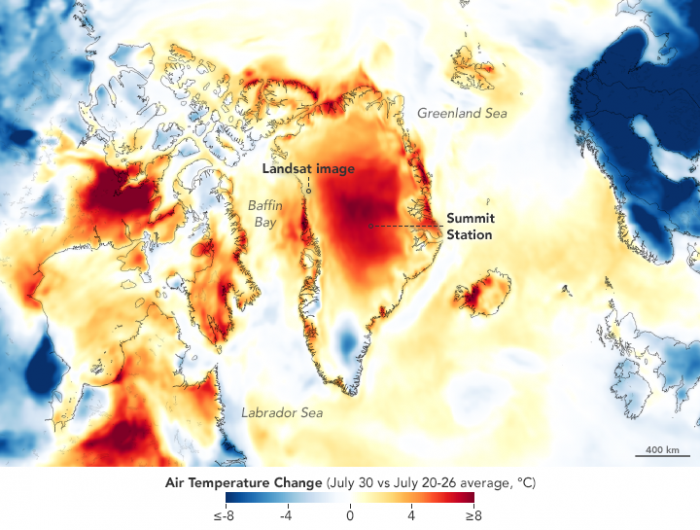 NASA image Warm Weather Brings Major Melting to Greenland July 2019